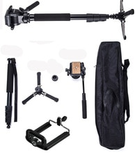 YUNTENG VCT-588 Pro kamera sıvı sürükle Tripod Monopod Canon Nikon Pentax DSLR