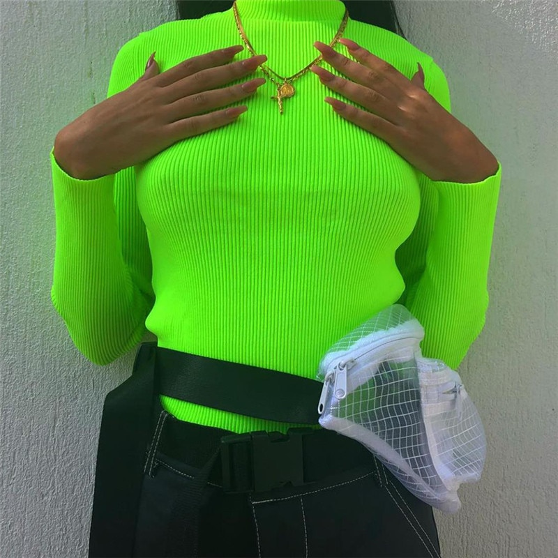 2021 Spring Tees T-shirt Women Tops Fashion Neon Green Red Regular Long Sleeve Casual T-shirts Top Blusas Female T Shirts