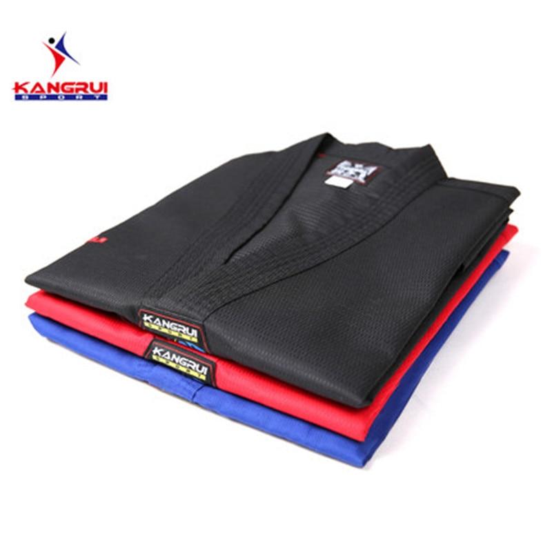 Poomsae Taekwondo uniforme de rojo azul negro entrenador dobok adulto Tae kwon do dobok WTF negro con cuello en V uniforme de TKD de formación