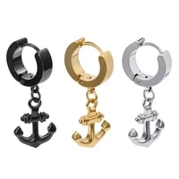 unique men round earring with anchor pendant drop earrings for women unisex stainless steel circle dangle earring