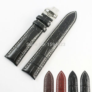20mm M8600 High Quality Silver Butterfly Buckle + Black Brown Genuine Leather Watch Bands Strap