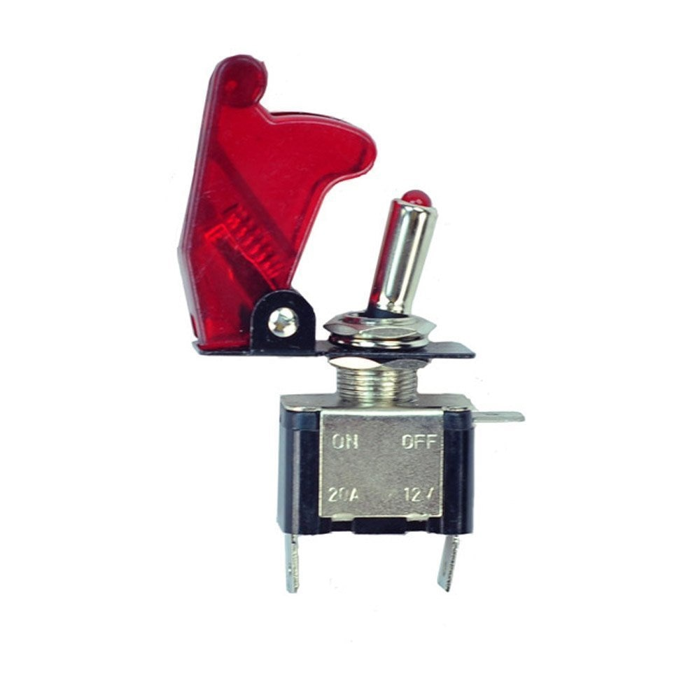 12 v fibra de carbono vermelho led iluminado controle de ligar/desligar + avião míssil estilo flip up capa rocker alternar botão interruptor