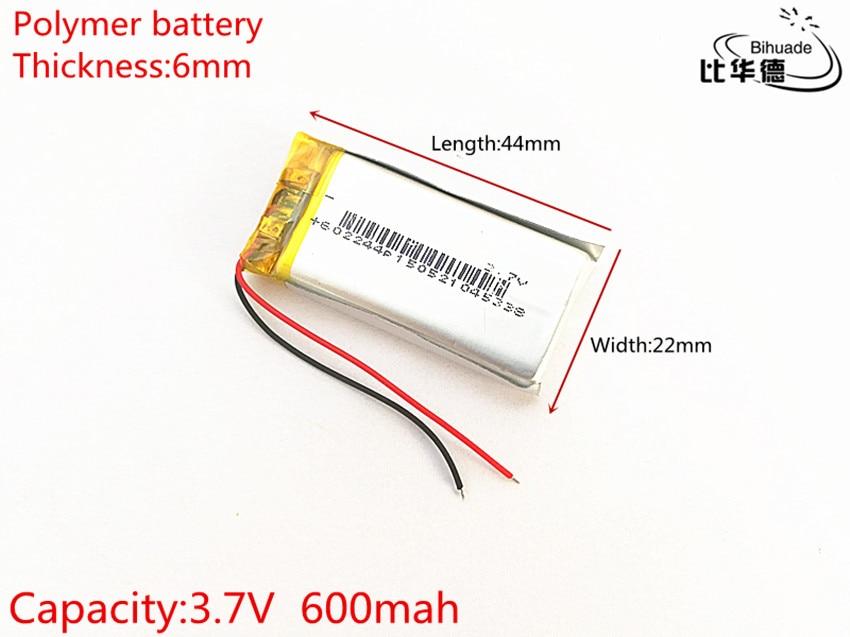 O envio gratuito de Litros de energia da bateria 602244 3.7 V 600 mAh Recarregável Li-Bateria de Polímero de lítio Para GPS, mp3, mp4, mp5, dvd