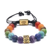 Bracelet en argent tibétain fait à la main arbre de vie 7 perles de Chakra Bracelet de Yoga en pierre naturelle de prière de bouddha de Reiki
