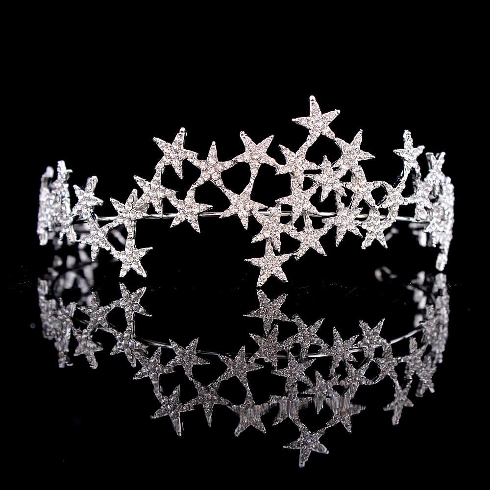 Crystal Star Tiara Crown Wedding Bridal Rhinestones Crown Headband Bride Headdress Headpiece Women Girl Hair Jewelry Accessories