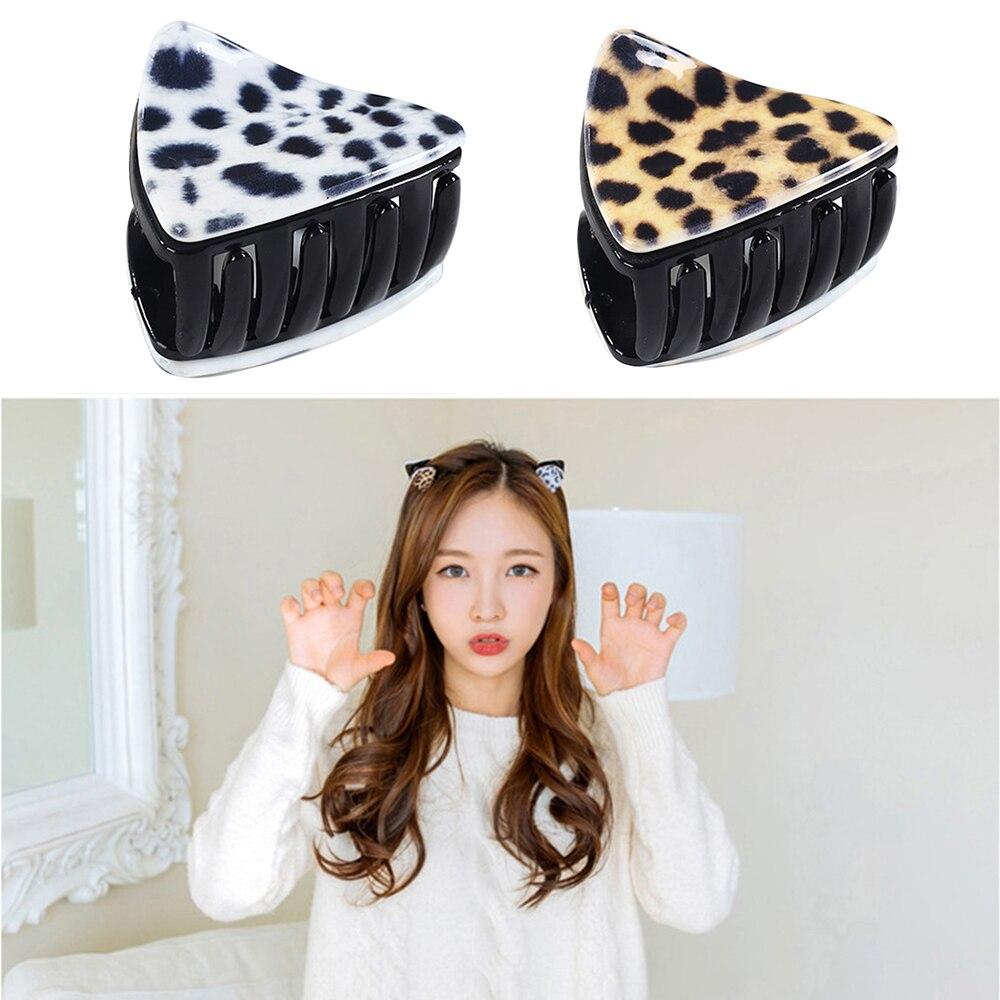 1 PC Women Hair Accessories Korean Cute Kitty Cat Ear Hair Claw Vintage Leopard print Hair Clips For Girls Styling Accessories