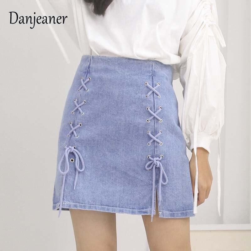 Danjeaner Denim Skirt High Waist A-line Mini Skirts Women 2019 New Arrivals Lace Up Package Hip Blue Jean Saia Jeans