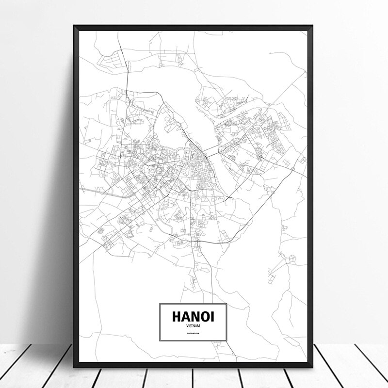 Hanoi, Vietnam Black White Custom World City Map Poster Canvas Print Nordic Style Wall Art Home Decor