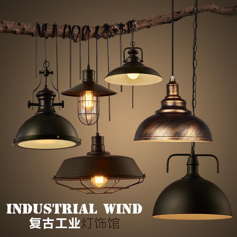 Free shipping Loft bar black iron lights american vintage indurstrial Pendant light dining room foyer Pendant lamps