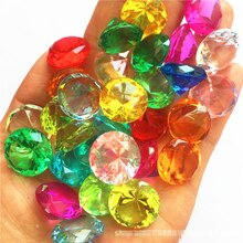 20MM 가짜 다이아몬드 보석 보물 가슴 해적 아크릴 크리스탈 보석 필러 완구 소품 파티 호의 색종이 웨딩 장식