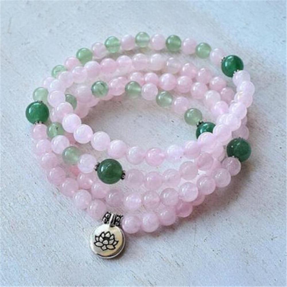 Cuentas de color rosa Natural 108 Mala 6mm pulsera de cristal rosa para mujer aleación Lotus Charm Beaded pulseras o collar para Yoga meditación