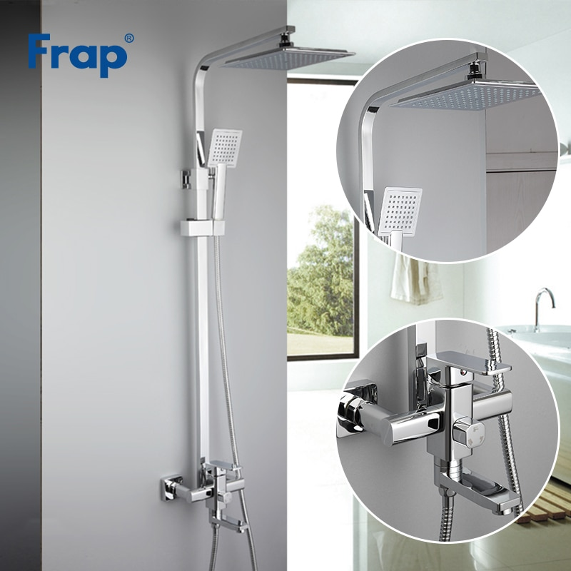 Frap Chrome shower faucets set bathtub mixer faucet bath rain shower tap bathroom ABS shower head stainless shower bar F2420
