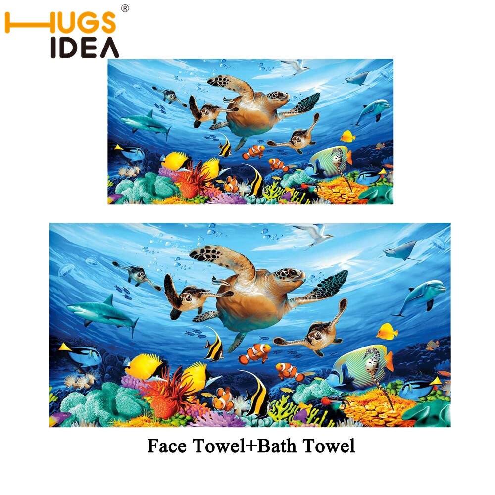 HUGSIDEA tortuga de mar Toalla de baño conjunto de 2 unids/set océano baño Toalla de algodón Toalla de playa absorbente baño cara deportes toalla