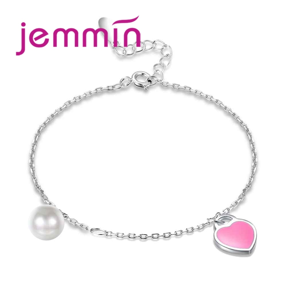 Elegante pulsera exquisita de moda 925 Plata de Ley perla Blanca Rosa accesorios en forma de corazón regalo de cumpleaños para mujer Niña