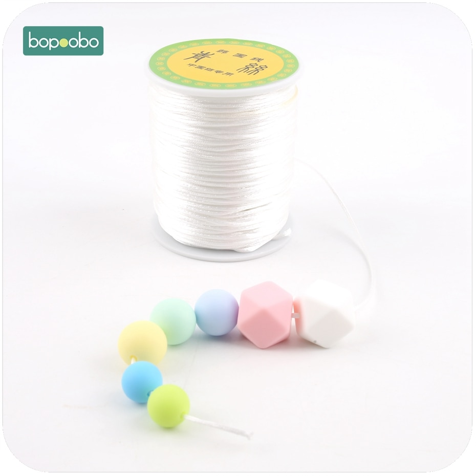 Bopoobo Colorful 1mm 80 Meters Satin Silk Rope Nylon Cord For Baby Teethers Accessories Teething Necklace Rattail Cord DIY Tool