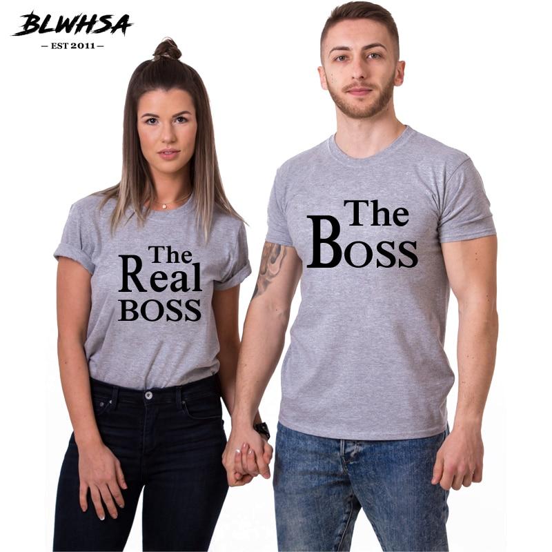 BLWHSA Liebhaber Paar T Shirt Frauen Männer Die Boss Frauen Die Echt Boss Druck Hochzeit T-Shirt Mode Bräutigam Braut Liebhaber t-shirt