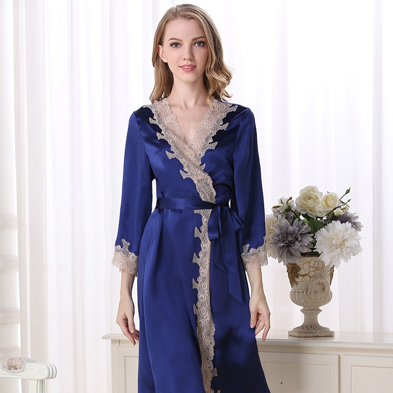 100% women silk robes Homewear sexy casual fashion brand night sleepwear robe plus size for summer woman solid color night robes