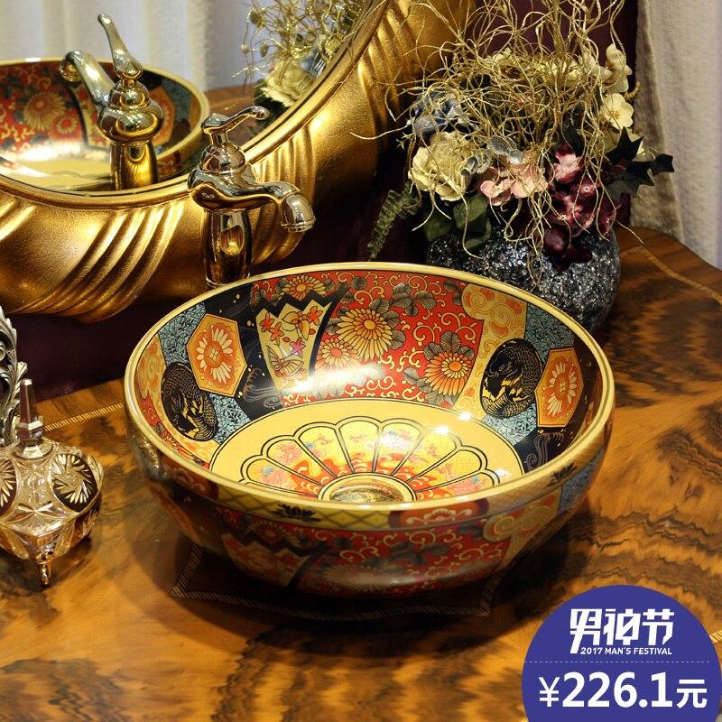 Jing Yan lavabo de scène européen rétro art   Lavabo en céramique, table ronde, lavabo de ménage, bassin américain