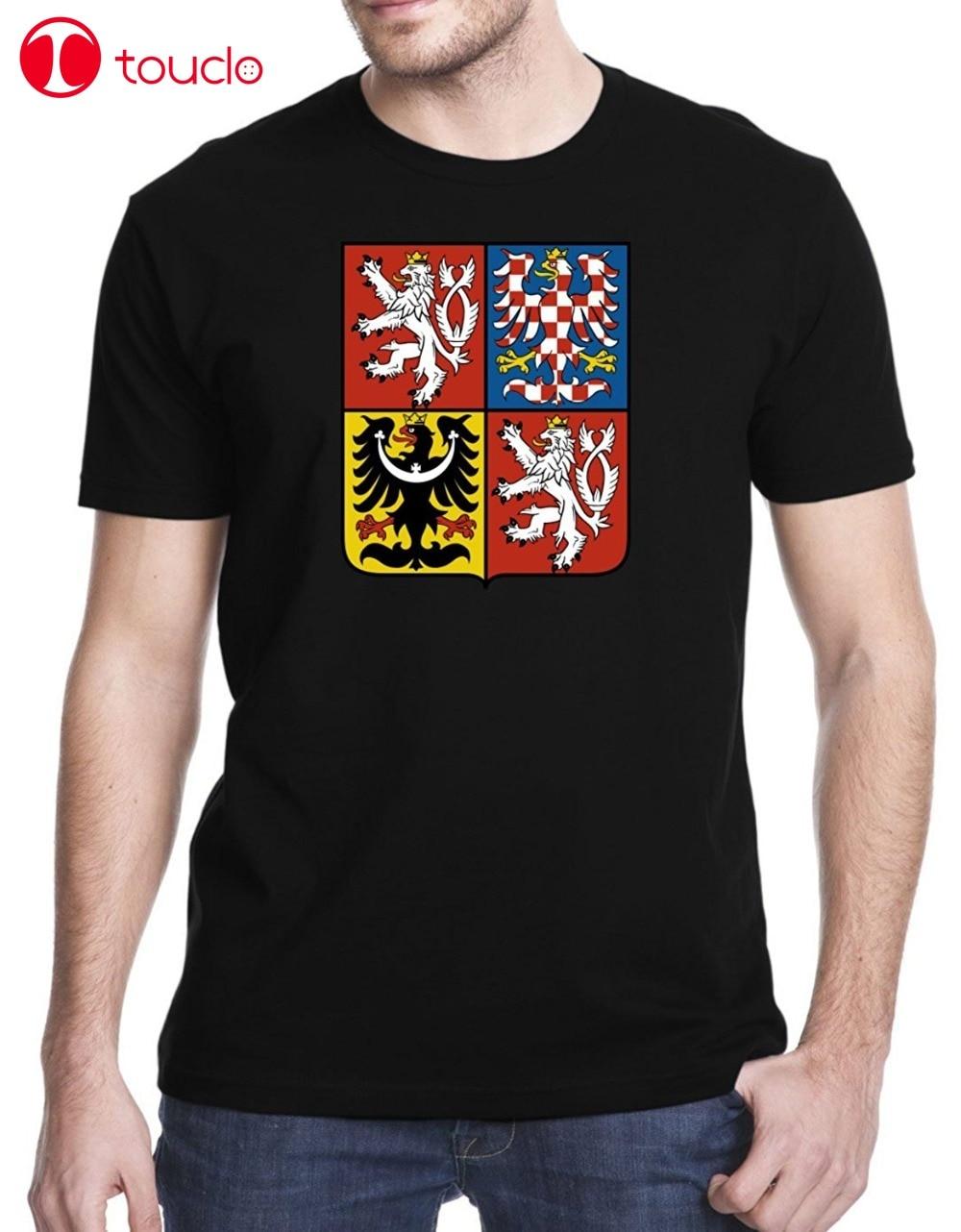 2019 O-pescoço de Algodão Camisa Fashiont Novo 2019 Moda Mens Camisetas Checa Brasão De Armas T-Shirt Da Camisola