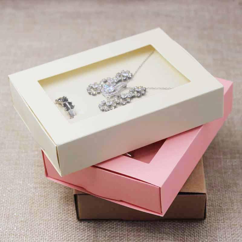 Wholesale pendant with earring /ring set display & packing window box,pink/beige/kraft/black/white jewelry set packing box 30pcs