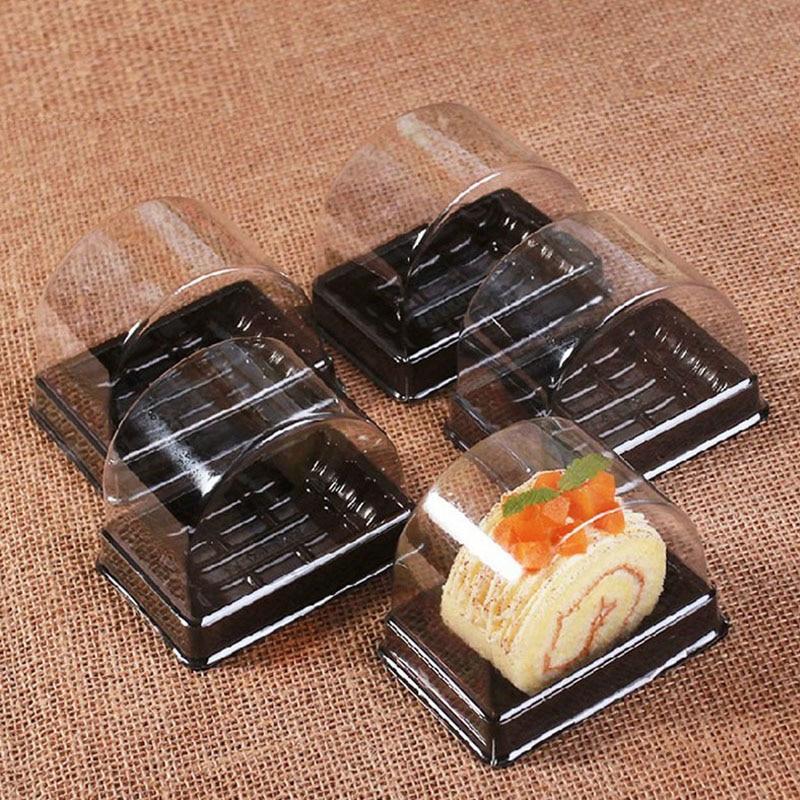 800 unids/lote 135*85*92mm caja de pastel desechable de plástico Individual cajas de pastel suizo postre de comida embalaje de ZA4173
