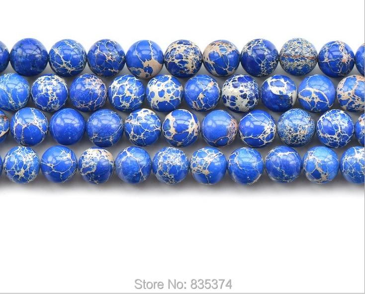 Envío Gratis, piedra Natural, sedimento marino azul, Beads4-12mm redondo Imperial suelto, tamaño a escoger para la fabricación de joyas
