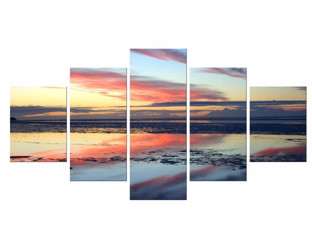 5 piezas de lienzo Paisaje artístico de pared pintura puesta de sol mar Panorama paisaje marino decoración cuadro Panel tableros para el marco de la habitación del hogar