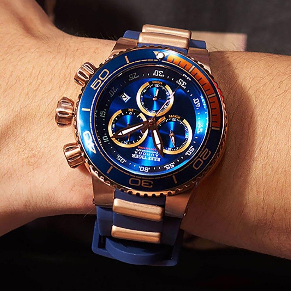 Reef Tiger/RT, marca superior, reloj deportivo azul de lujo para hombre, oro rosa, relojes impermeables, correa de goma, reloj Masculino RGA3168
