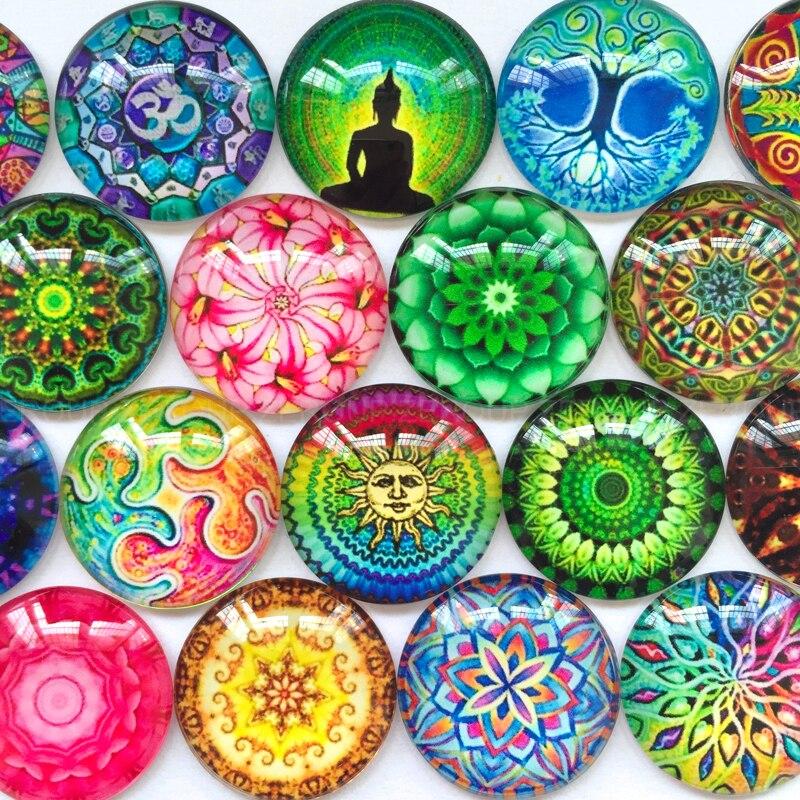 ZEROUP, cabujón redondo de cúpula de cristal, 12mm, 20mm, accesorios colgantes con patrón mixto para bricolaje, accesorios de joyería con parte posterior plana