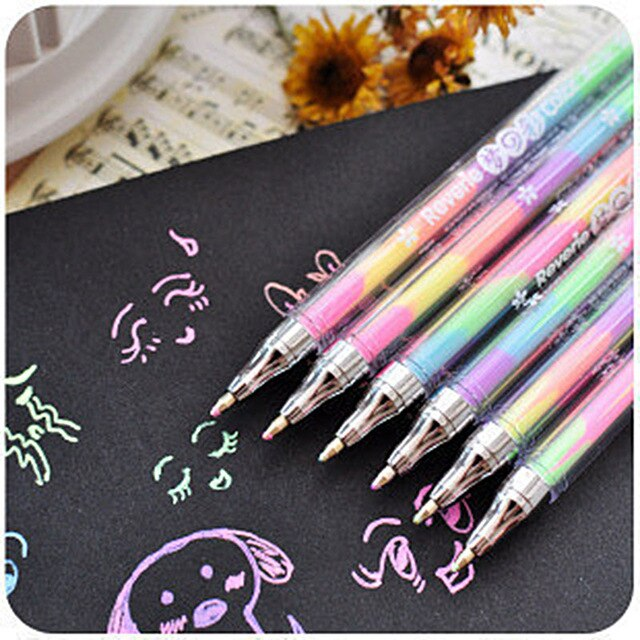 5 pcs/lot Kawaii 6 Colors in 1 Watercolor Gel Pen Highlighters Water Chalk Pen 0.8mm For Albums Diary DIY Scrapbooking Painting