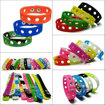 Free DHL/EMS 200PCS 18CM Mixed 14 Colors Silicone Wristbands Soft Bracelets Bands for Shoe Charms Kids Party Favors