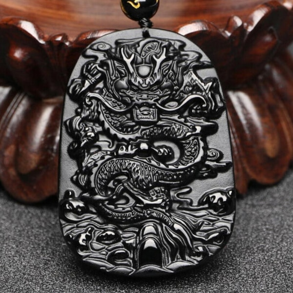 Colgante de dragón obsidiano negro Natural, collar de cuentas, joyería, accesorios de moda, tallado a mano, amuleto de la suerte para bebé, regalos