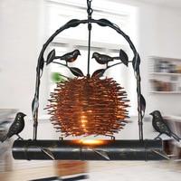 nordic loft vintage iron bird nest pendant light restaurants aisle bar coffee shop dining room decorative E27 hanging lamp