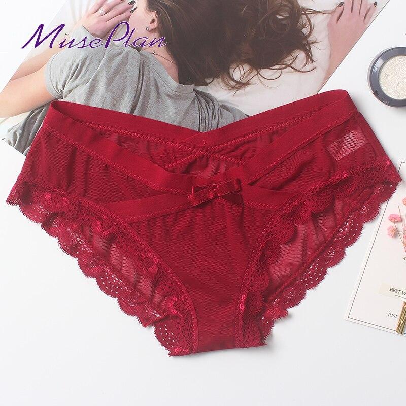 Envío gratis sin mujeres sexy encaje Bragas para mujer algodón sin costuras bragas talla grande ropa interior de niña