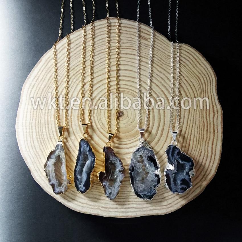 WT-N140 بالجملة الطبيعية الجيود شريحة حجر قلادة موضة druzy الجيود الحجر الأسود قلادة