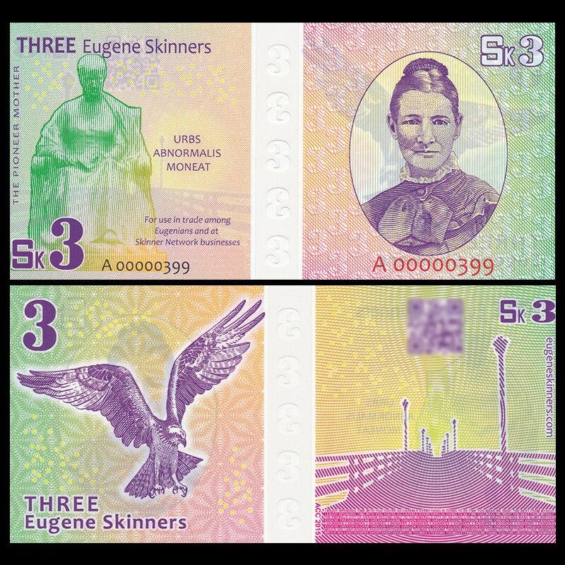 Eugenio de Estados Unidos, 3 dólares, 2015, P-2, nota elegante, polímero, conmemorativo de negocios, colección, regalo, Original