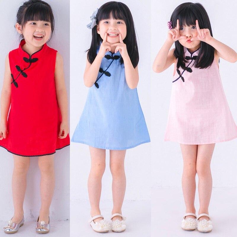 Платье для маленьких девочек; Модный костюм Чонсам Тан; Сезон весна-лето; Хлопковое детское платье принцессы без рукавов для девочек