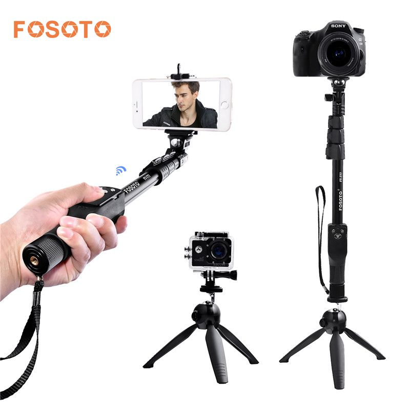 "Fosoto FT-777 + 228 Selfie palo del YT-1288 bluetooth 50 ""de mano monopod trípode soporte Base para Gopro cámara Dslr IPhone7 8"