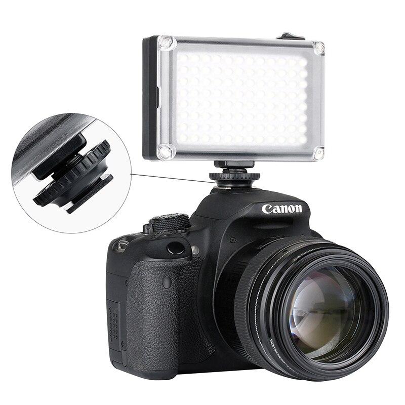 Ulanzi 96 LED teléfono Video luz foto iluminación en cámara Zapata caliente LED lámpara para iPhone Xs Max X 8 videocámara Canon Nikon DSLR