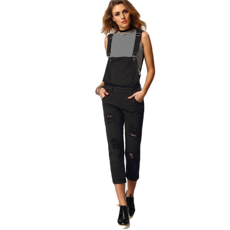 Shein kobiety kombinezon denim kombinezony 2016 wiosna jesień czarny pasek kieszenie pełna długość denim jeans ripped kombinezon 2