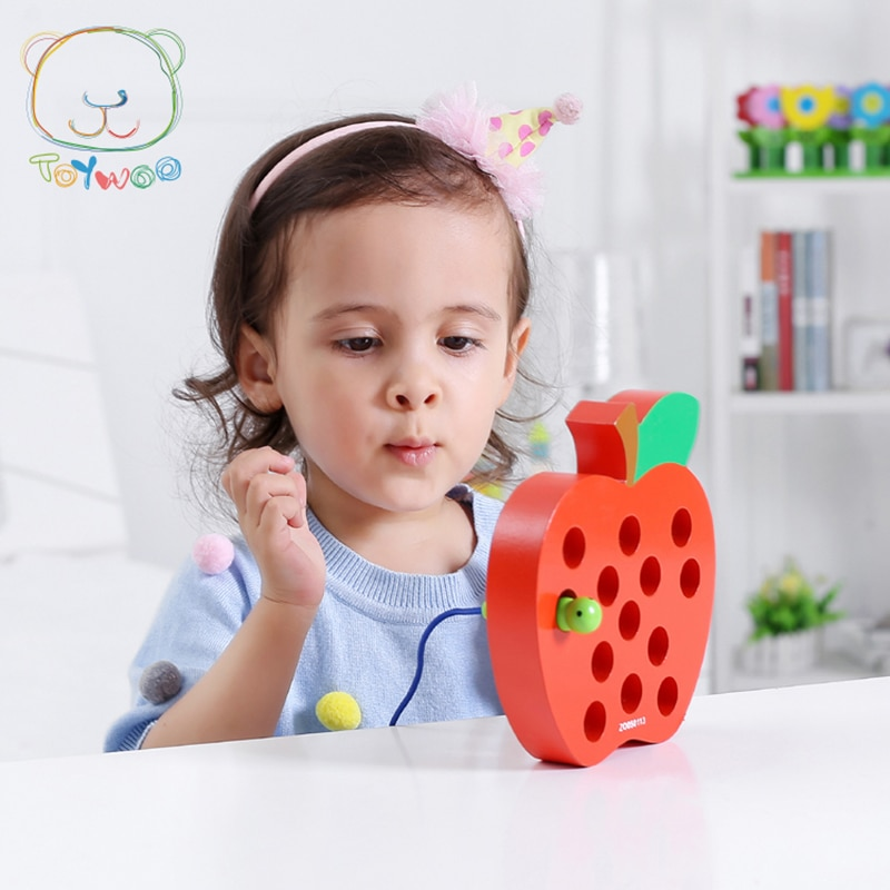 [Toy Woo] Toddler Early Learning Educational Toy Pest Eat Apple Pest Around Apple Wooden Baby Puzzle Threading Toy Threading