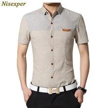 Nisexper 2018 shirt 남성 남성 캐주얼 셔츠 코튼 반소매 슬림 피트 드레스 셔츠 플러스 사이즈 의류 편안한 플러스 사이즈 5xl