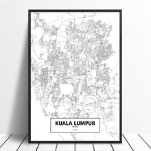 Kuala Lumpur, Malaysia Black White Custom World City Map Poster Canvas Print Nordic Style Wall Art Home Decor