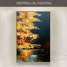 Expert Künstler handgemalte Hohe Qualität Moderne Landschaft See Ölgemälde auf Leinwand Lebendige Farben See Landschaft Ölgemälde