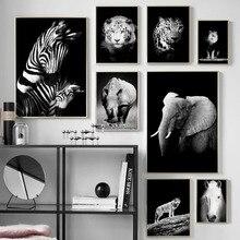Toile dart murale noire blanche   Tigre Lion loup rhinocéros, toile de peinture, affiches et imprimés nordiques, photos murales pour décor de salon
