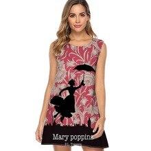 여자 민소매 느슨한 스윙 캐주얼 드레스 2019 메리 poppins 인쇄 여름 쉬폰 드레스 가운 섹시한 짧은 해변 복장