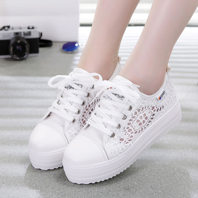 여성 스 니 커 즈 레이스 캔버스 통기성 플랫폼 신발 여성 플랫 스 니 커 즈 2019 패션 여름 캐주얼 레이디 스포츠 신발