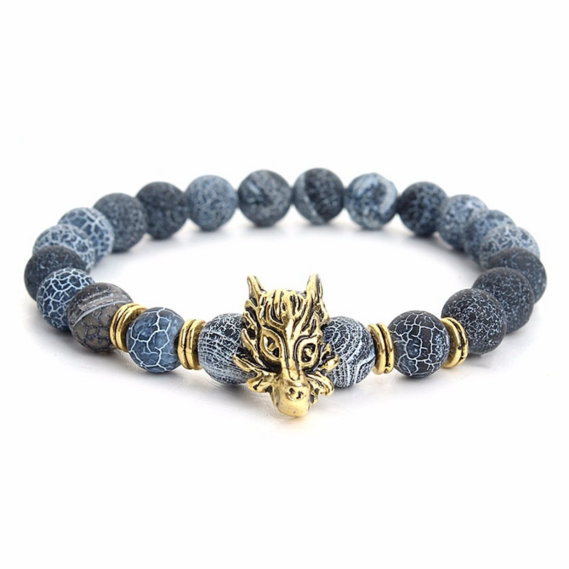 2020 pulseras de hombre con cabeza de dragón de piedra Natural de alta calidad, pulseras de regalo con abalorios de diseño superior para hombre