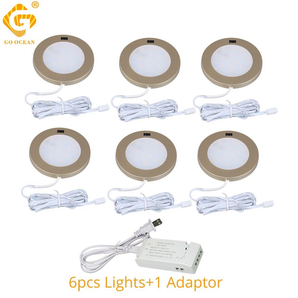 Luces LED para debajo del Gabinete 12V, luz redonda dorada para armario, luz para armario de cocina, luz para armario, Sensor de movimiento para muebles