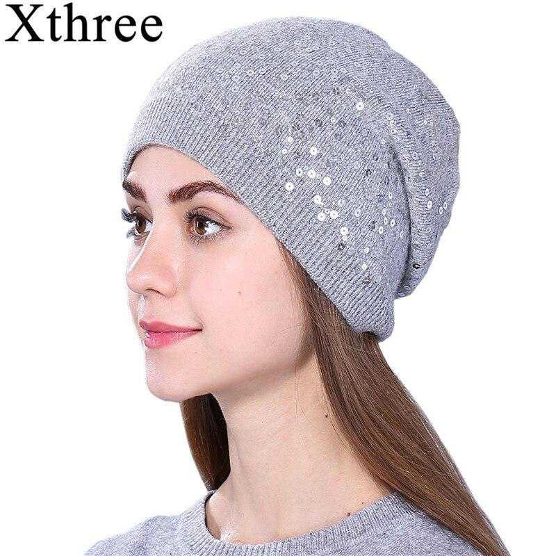 Gorro de invierno de Cachemira para mujer Xthree, gorros con lentejuelas, sombrero de lana Otoño, gorros de invierno para niñas